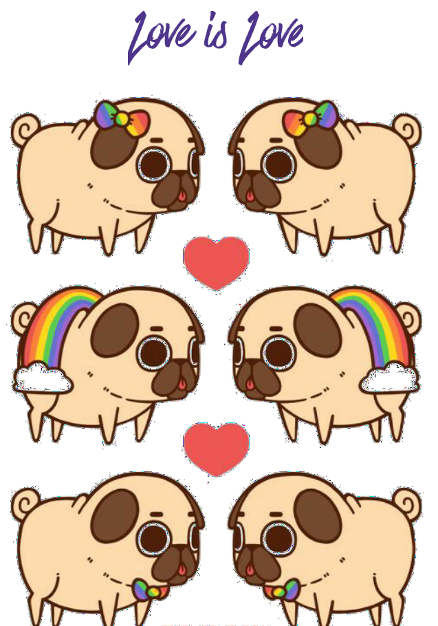 maglietta Love is Love Pugs