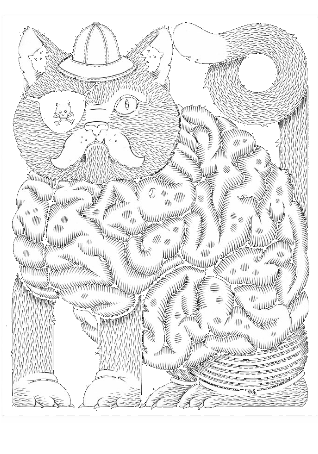 maglietta Cat Brain