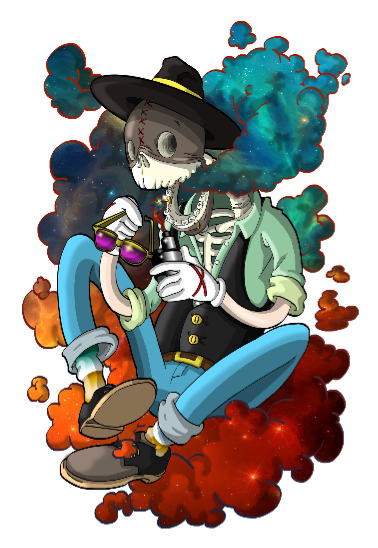 maglietta Space skeleton