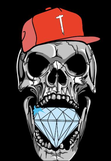 maglietta skeleton head