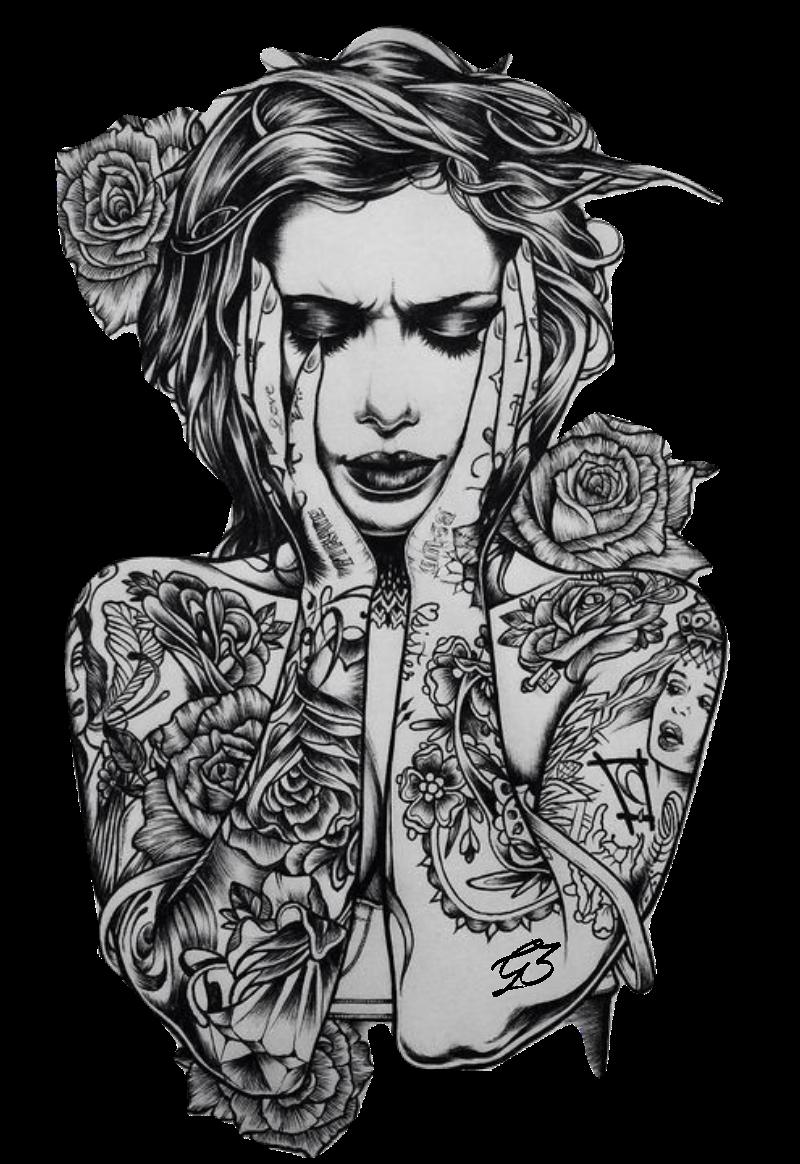 maglietta Girl Tattoo Rose #Gio3