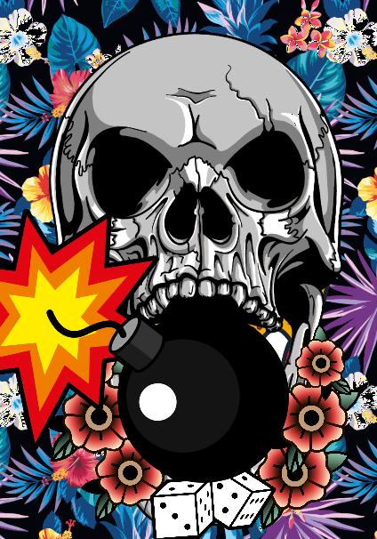 maglietta maya skull