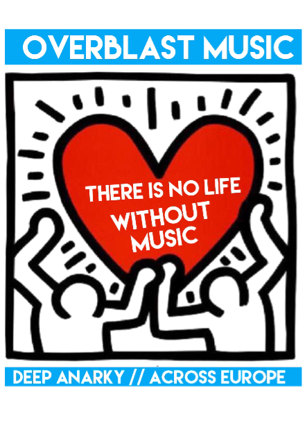 maglietta Overblast Haring Heart there is no life without music