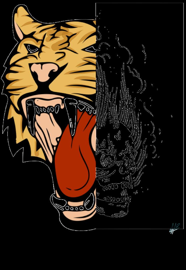 maglietta tiger skull
