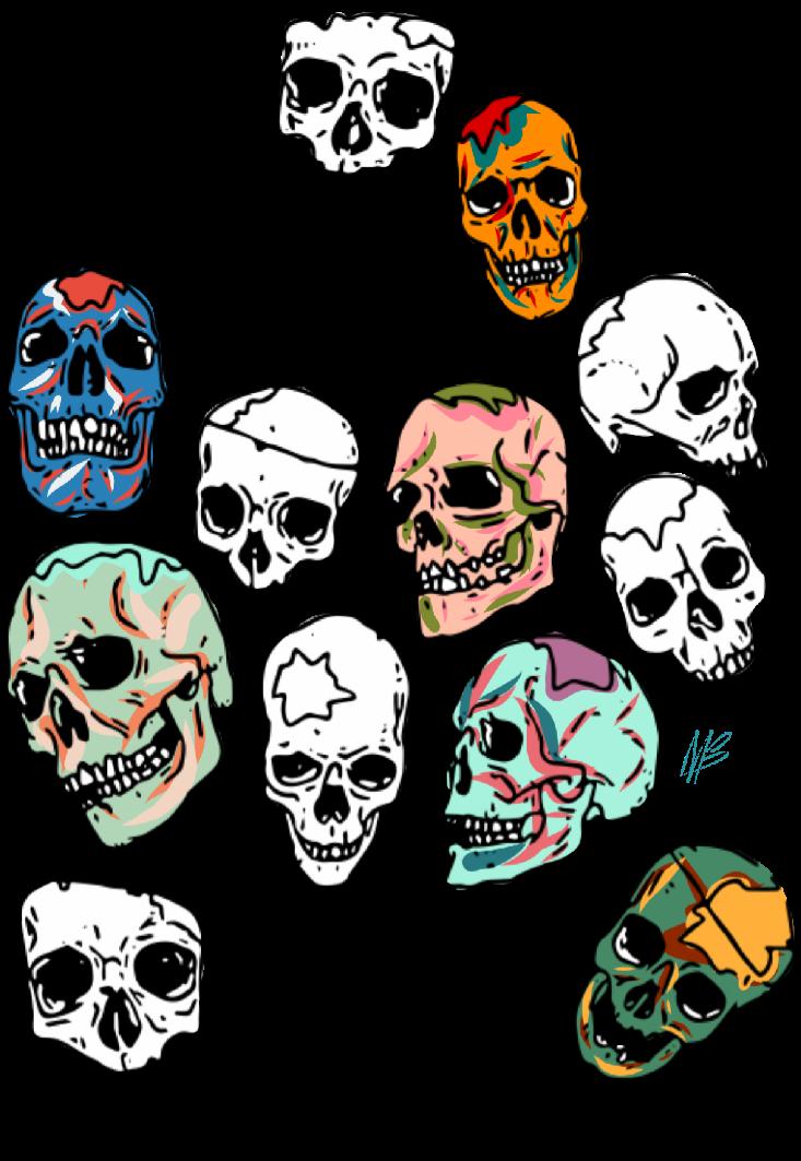 maglietta skull multicolor