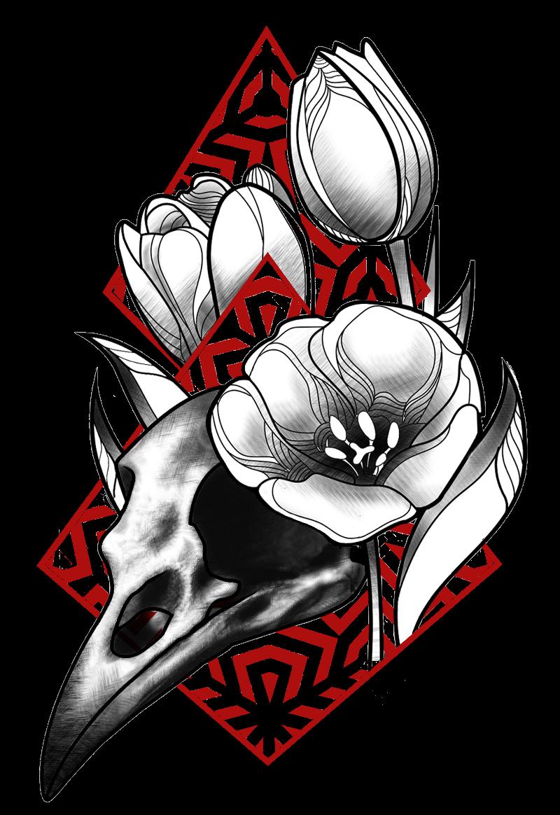maglietta skull and tulips.